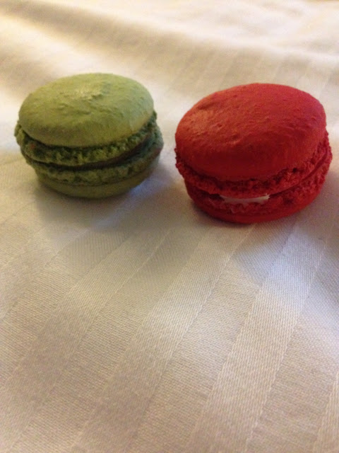 Gluten free green tea and red velvet macarons!