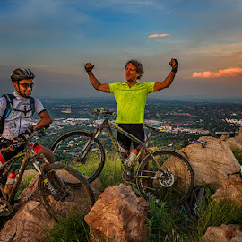We did it! by Peter Primich - Sports & Fitness Cycling ( cyclists, sunset, mountain bike, triumph )