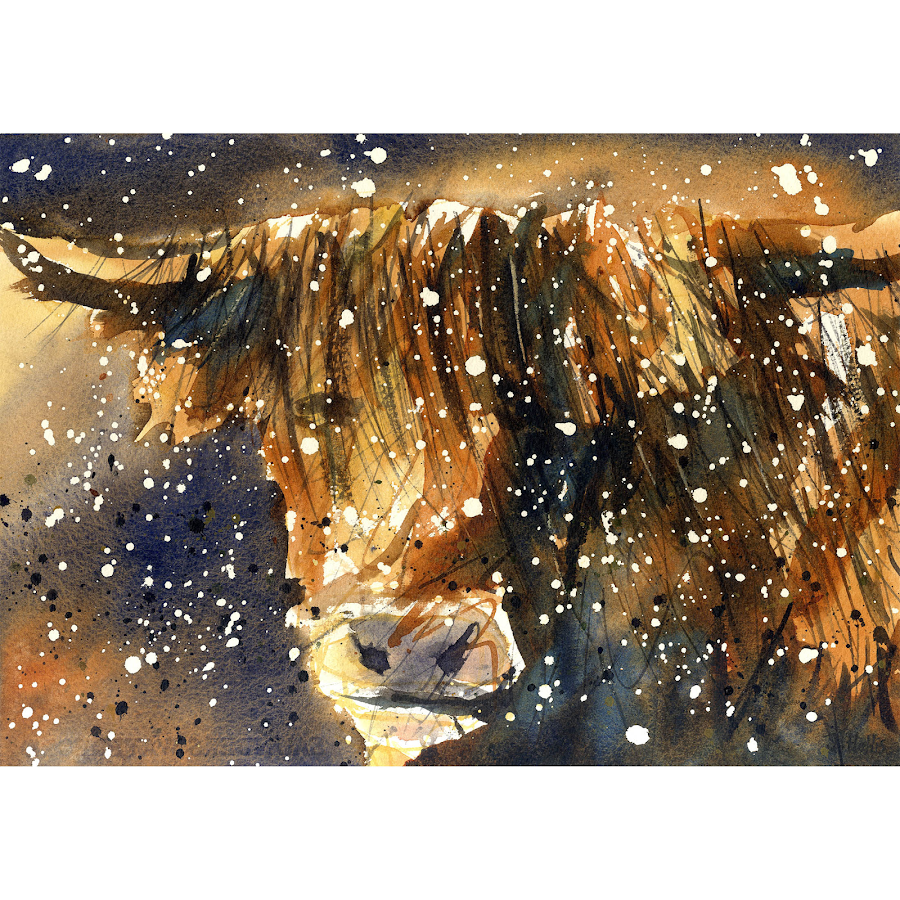 Highland cow christmas art print wildlife painting