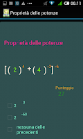 Screenshot of Test Matematica.Potenze