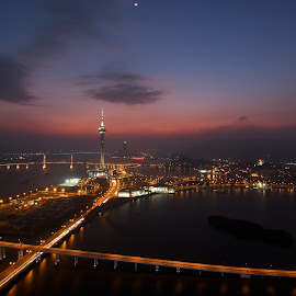 Macau by Dusk by Renato Marques - City,  Street & Park  Skylines ( skyline, nam van lake, macau tower, sunset, macau, dusk )