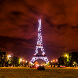 by Helen Fung - Buildings & Architecture Public & Historical ( eiffel tower, paris, europe, eiffel, france, night, long exposure, couple, city )