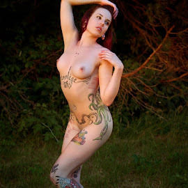 Tattoo Dance by James Baker - Nudes & Boudoir Artistic Nude ( breast, nude, purple, grass, sunset, scar, trees, scars, tattoo, outside, golden hour )