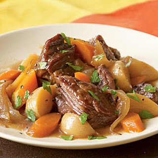 Beer-Braised Beef with Onion, Carrot, and Turnips