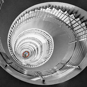 Spiral Surprise  5908   by Karen Celella - Buildings & Architecture Office Buildings & Hotels ( iceland, selective color, staircase, architectural, spiral, hotel, design, pwc )