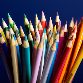 Colors Spread on Blue by Michael Holser - Artistic Objects Education Objects ( blue, colors, crayola, colored pencils )
