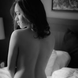 Morning Glow by Jon Page - Nudes & Boudoir Boudoir ( sexy, black and white, boudoir, soft light, pretty, curves, sensual, soft glow )