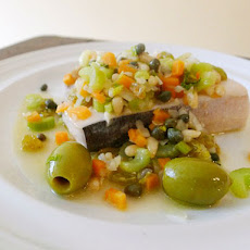 The Art of Eating's Swordfish with Olives, Celery, Garlic, Vinegar, and Mint