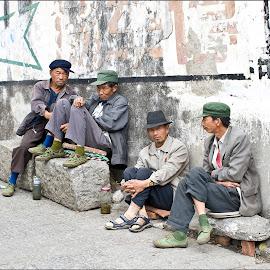 Four Friends by Paul Matthews - People Portraits of Men
