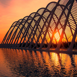 Between the Lines by Kathleen Bats - Buildings & Architecture Other Exteriors ( water, reflection, sunset, oaka, athens )