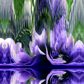 Reflection by Tina Dare - Digital Art Abstract ( abstract, reflection, patterns, designs, distorted, blues, shapes )