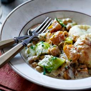 Chickpea And Butternut Squash Casserole With Scone Topping