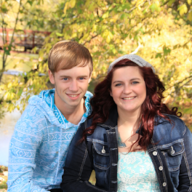 Kyle and Samantha by Marsha Biller - People Couples ( senior portrait, couple, teens, woods, outside,  )