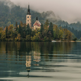 Reflections  by Roland Bast - Buildings & Architecture Places of Worship ( water, reflection, fog, bled lake, monastery, slovenia, lake, island )
