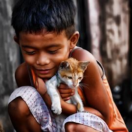 Hug Me Tight Kitty by Ferdinand Ludo - Babies & Children Child Portraits ( kitten, love the pet, pet, f gonzales, kid )