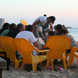 Untitled by Yana Villion - People Family ( chair, family, beach, people, Chair, Chairs, Sitting )