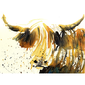 Highland cow art print from a watercolour painting