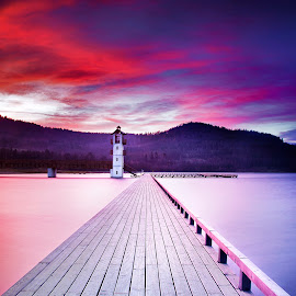 Sunrise Sunset by Michal Mierzejewski - Buildings & Architecture Bridges & Suspended Structures ( tower, structure building lighthouse lake mountain dusk sunset sky clouds, werol michal mierzejewski werol.org photography fotografia micha, mierzejewski, werol, bridge )