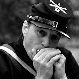 Harmonica Player by Jose Matutina - People Portraits of Men ( b&w, guy, male, man, harmonica,  )