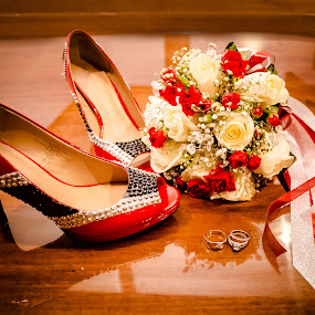 Red, White & Blackhawks by Jess Anderson - Wedding Details ( shoes, hockey, details, wedding, pumps, chicago blackhawks, blackhawks, rings, heels, marriage, engagement rings )