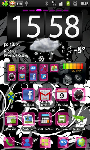 Glass Pink go launcher theme