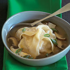 Chicken and Shrimp Dumplings in Green Onion-Shiitake Broth