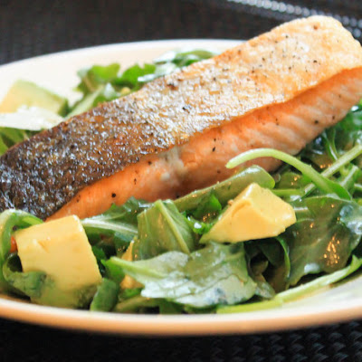 Pan-Roasted Salmon With Arugula and Avocado Salad