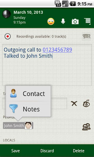 Memoires Contact Note - screenshot