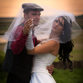 Love by Gerhard Niemand - Wedding Bride & Groom ( sunset, wedding, wife, dress, husband, bride, groom )