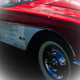 Classic Corvette  by Amy Brown - Transportation Automobiles ( red, corvette, vintage, white, classic )