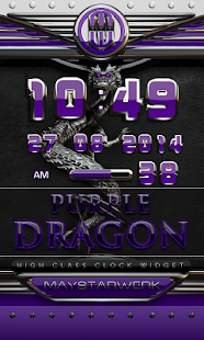 dragon digital clock purple - screenshot