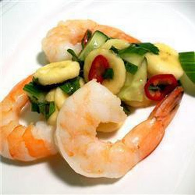 Thai Prawns With Banana And Cucumber Salsa