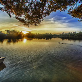 sunrise at Lagoon by Cristobal Garciaferro Rubio - Landscapes Waterscapes ( water, lagoon, rise, reflections, lake, sunrise )