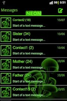 Screenshot of Green neon theme GO SMS Pro