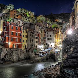 Riomaggiore by Cristian Peša - City,  Street & Park  Night