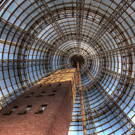 Sky High by John Torcasio - Buildings & Architecture Architectural Detail ( melbourne central, melbourne, shopping centre, australia, shot tower museum, conical glass roof., shot tower, city )