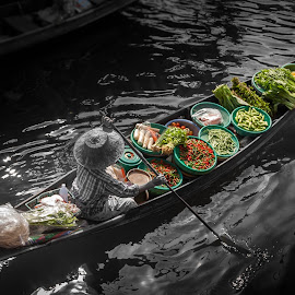 Here is my shop by Nang Ray - City,  Street & Park  Markets & Shops ( shop, floating market, vegetables, thailand, boat, ratchaburi provice )