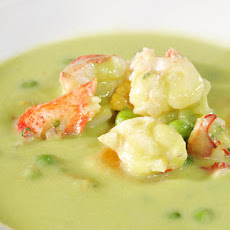 Minted English Pea Soup with Lobster and Orange