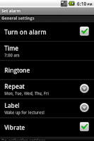 Screenshot of Shake Alarm