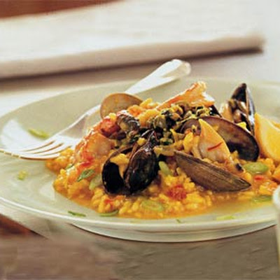 Mussels, Clams and Shrimp with Saffron Risotto and Green Olive Relish