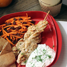 Chicken Kebab with Carrot-Raisin Salad and Greek Yogurt Sauce (Tzatziki)