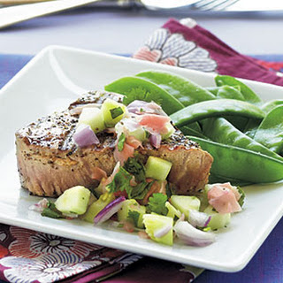 Grilled Tuna Steaks with Cucumber–Pickled Ginger Relish