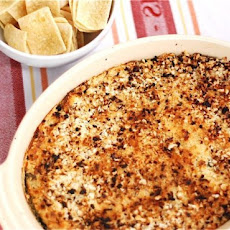 Caramelized Onion & Spinach Dip with Spicy Panko Crust