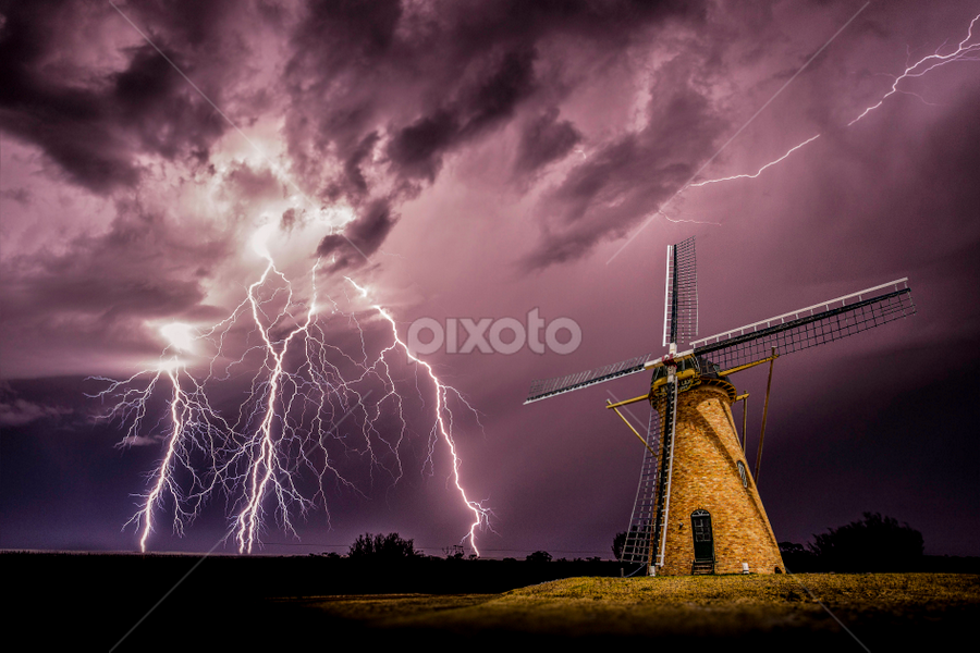 Sparks at the mill by Craig Eccles - Landscapes Weather ( thunder, lightning strike, lightning, lightning bolt, lightning storm., cloud, weather, thunder storm, thunder bolt, storm, windmill,  )
