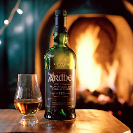 by Jake McClean Walker - Food & Drink Alcohol & Drinks ( islay, scotch, alcohol, drink, glass, whisky, ardbeg, bottle, single malt, fire )