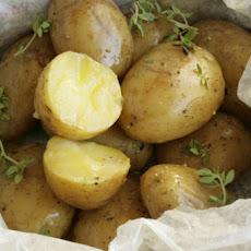 New Potatoes Baked In Newspaper With Smoked Butter And Thyme