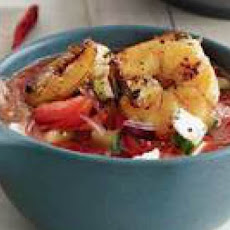 Watermelon-Tomato Gazpacho with Shrimp