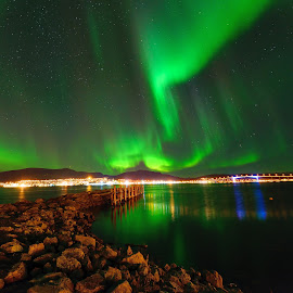 Northern lights over Sortland by Marius Birkeland - City,  Street & Park  Skylines ( skyline, sky, aurora borealis, aurora, city,  )