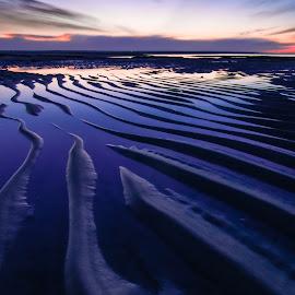 Sand Wave Sunset Portrait by Matthew Robertson - Landscapes Beaches ( sand, sunset, long exposure, night, ocean, sunrise, beach, cape cod )
