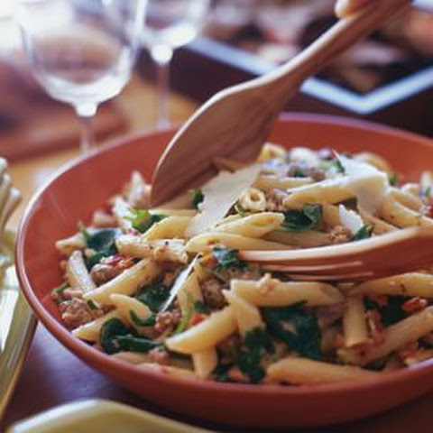 Penne with Italian Sausage, Spinach and Bread Crumbs